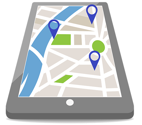 A smartphone displaying a map with multiple neighborhoods marked to illustrate that this Vaughn Ontario dentist serves surrounding communities.